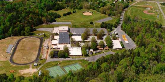 An aerial view of the East Forsyth High School campus